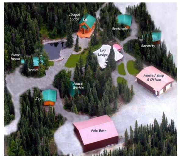 a mapped aerial view of a cabin by the pond.